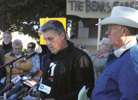SAN JUAN COUNTY COMMISSIONER PHIL LYMAN SPEAKS AT PROTEST