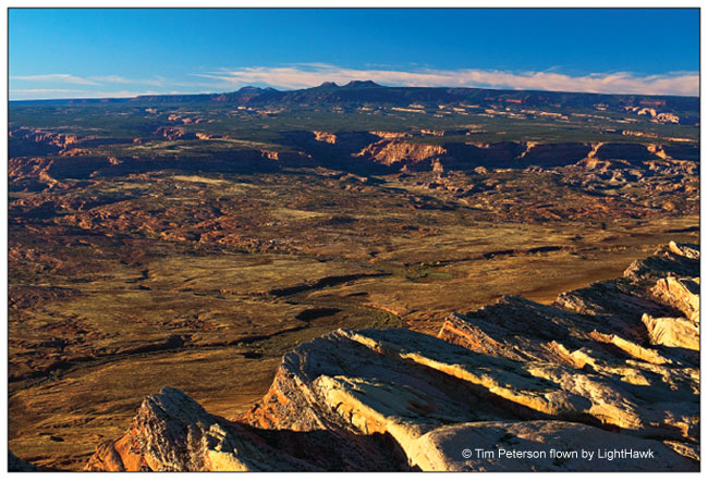 WOODENSHOE BUTTES AND THE BEARS EARS OVER CEDAR MESA AND COMB RIDGE