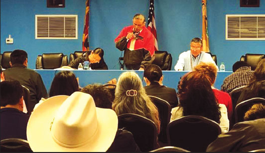 WESTERN NAVAJO AGENCY OFFICIALS GATHER IN CAMERON, AZ.