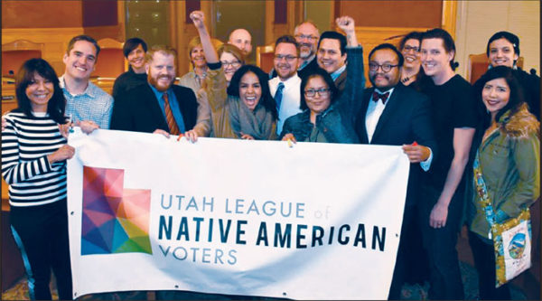 The Utah League of Native American Voters celebrate in Salt Lake City Council chambers after a vote to support Standing Rock in 2016.
