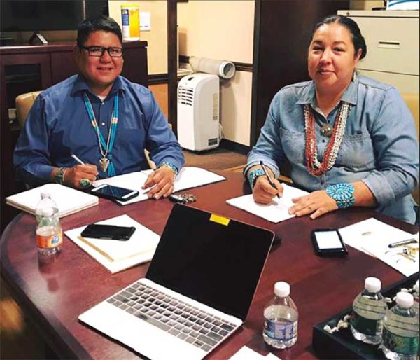 Navajo Nation Council delegates Nathaniel Brown and Amber Kanazbah Crotty