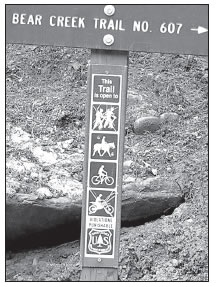 SCRATCHED UP SIGN AT BEAR CREEK TRAILHEAD