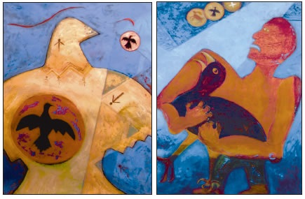 "A DIPTYCH BY ARTIST GLORIA EMERSON TITLED ""MANIFEST"" AND ""DESTINY"""