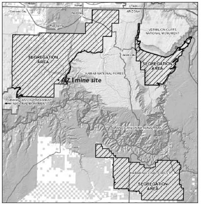 MAP OF SEGREGATED AREAS AROUND GRAND CANYON NATIONAL PARK