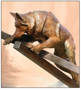 BRONZE SCULPTURE OF DOG TITLED SEMPER FI BY PATSY DAVIS