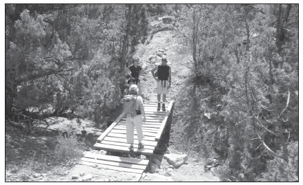 WOODEN BRIDGE OVER STREAM IN RECAPTURE CANYON