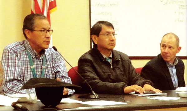 Utah Representative John Curtis (right) meets with leaders of the Navajo Nation for the first time in Mexican Water Chapter. Kenneth Maryboy, on left, is now a commissioner-elect in San Juan County, and Jonathan Nez, center, is president-elect of the Navajo Nation.
