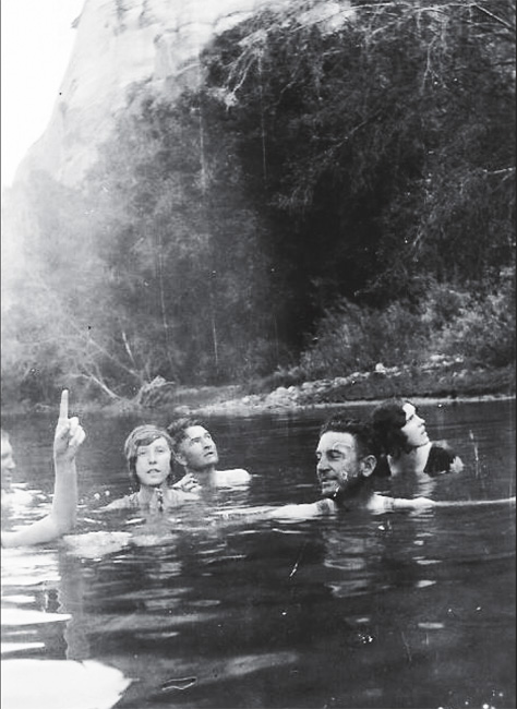 Recreation in Southwest Colorado in the mid-1930s. This farm family hiked down to Dolores River below Lone Dome for a swim after a week of work.