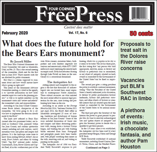FOUR CORNERS FREE PRESS FEBRUARY 2020 COVER