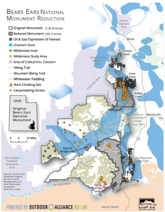 BEARS EARS NATIONAL MONUMENT REDUCTION MAP